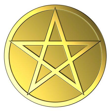 pentagram: Gold pentagram Stock Photo