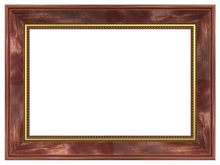 Mahogany with gold rectangular frame isolated on white background. photo