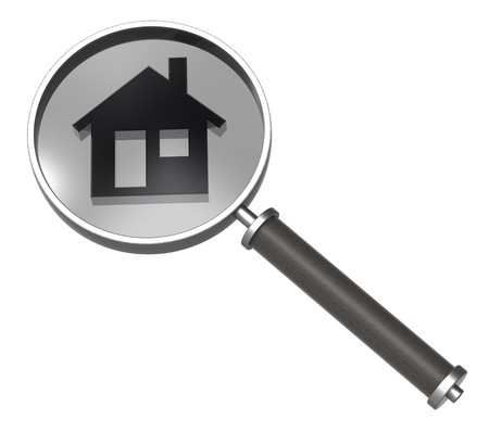 home search: Magnifier with home icon isolated on white.