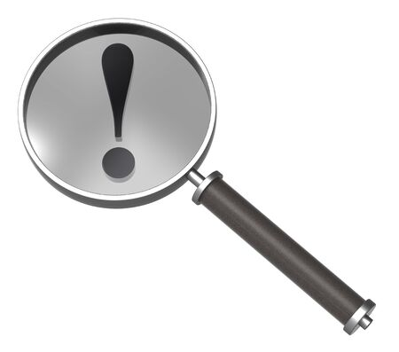 Magnifier with exclamation sign isolated on white. Stock Photo - 7239789