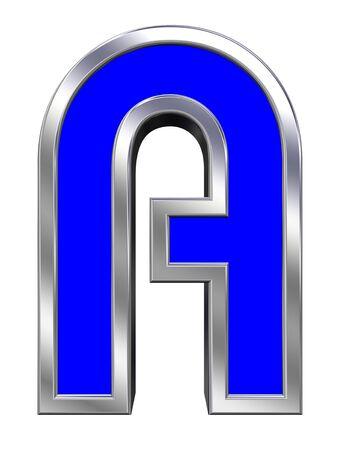 chrome alphabet: One letter from blue with chrome frame alphabet set, isolated on white. Stock Photo