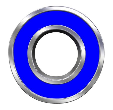One letter from blue with chrome frame alphabet set, isolated on white.  photo