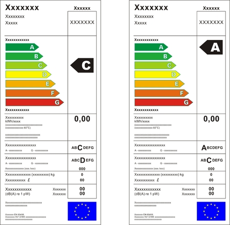 verimli: Washing machine energy rating graph label  Çizim