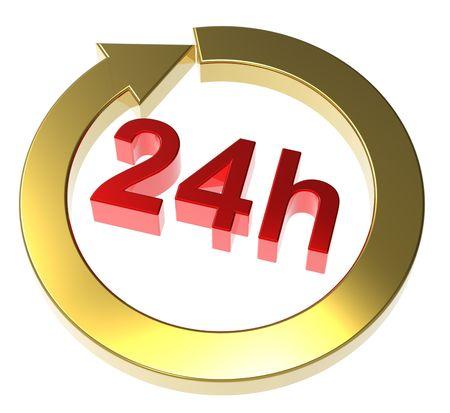 segno di consegna di 24 ore. Computer generato rendering 3D.