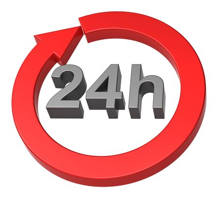 24 hours delivery sign. Computer generated 3D  rendering. Stock Photo