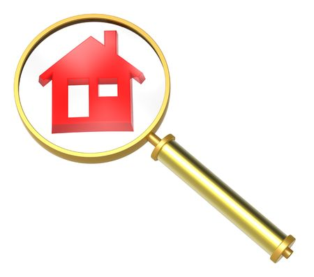 gold house: Magnifier with home icon isolated on white. Computer generated 3D rendering.