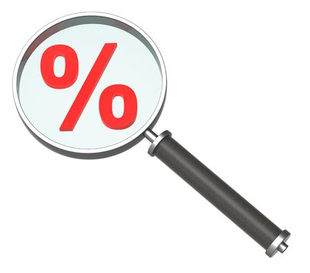 percentage sign: Magnifier with percent sign isolated on white. Computer generated 3D rendering.  Stock Photo