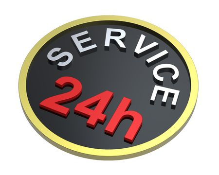24 hours service sign. Computer generated 3D photo rendering. photo