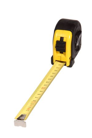 Yellow tape measure over white Stock Photo - 7965187