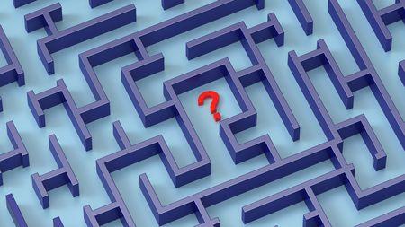 Labyrinth und Red Question Mark Konzept. Computergenerierte 3D Foto Rendering.