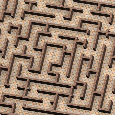 Labyrinth-Konzept. Computer generierte Fotos 3D Rendering.  Standard-Bild