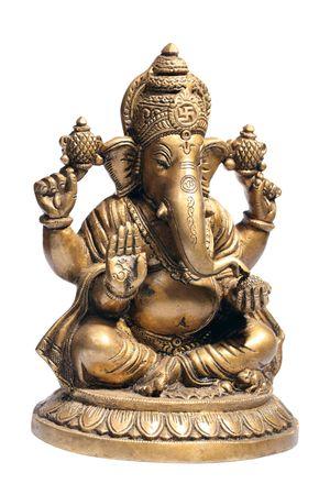 ganesh: Hindoe God Ganesh geïsoleerd op wit Stockfoto