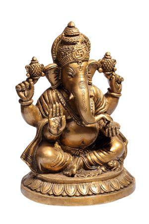 lord ganesha: Hindu God Ganesh isolated on white Stock Photo