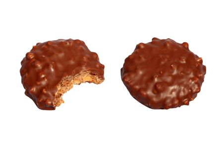 Tea time chocolate biscuits isolated on a white background photo