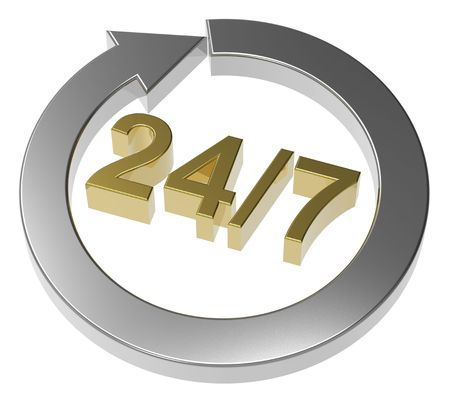 24 hours seven days a week sign over white. Computer generated 3D rendering. Stock Photo - 8218507