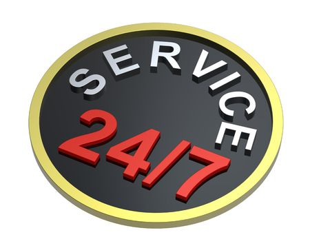 24 hours seven days a week service sign over white. Computer generated 3D rendering.