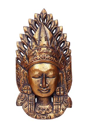trimurti: Wooden mask of god Vishnu isolated on white
