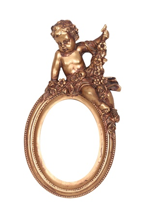 Oval baroque gold frame with cupid isolated on white. photo