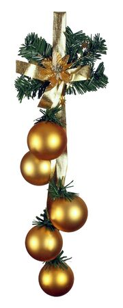 Christmas gold shiny baubles with gold ribbon isolated on white photo