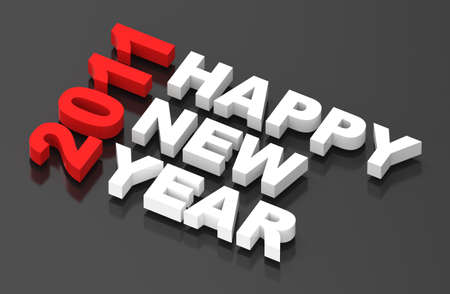 Happy New Year 2011, text on black. Computer generated 3D  Stock Photo - 8467258