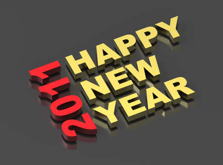 Happy New Year 2011, text on black. Computer generated 3D Stock Photo - 8467260
