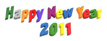 Happy New Year 2011, text on white. Computer generated 3D Stock Photo - 8467259