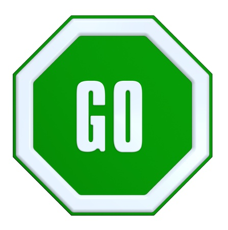 GO sign isolated on white. Computer generated 3D photo rendering. Standard-Bild