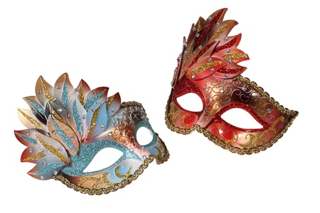 Two carnival Venetian masks isolated on white background