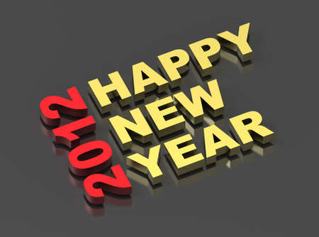Happy New Year 2012, text on black. Computer generated 3D photo rendering Stock Photo - 8698347