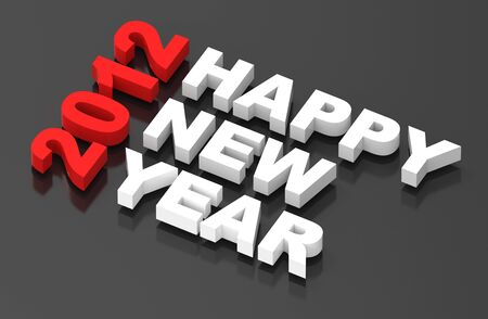 Happy New Year 2012, text on black. Computer generated 3D photo rendering  Stock Photo