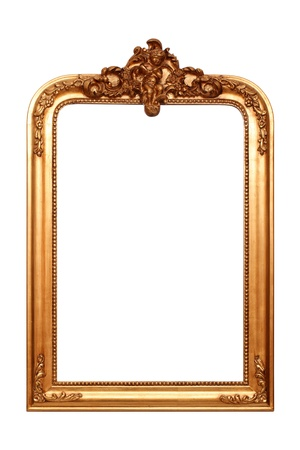 antique mirror: Gold frame isolated on white background