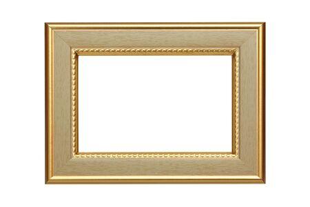 Gold frame isolated on white background photo