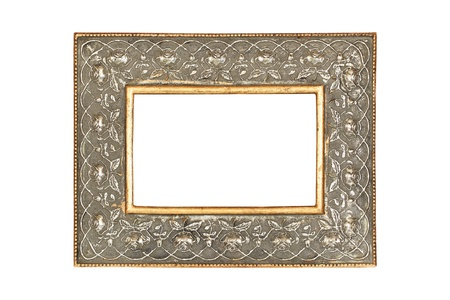 Gold-silver metal frame isolated on white background  photo