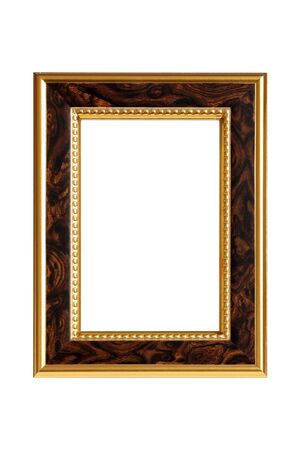 bordering: Gold-brown wooden frame isolated on white background.