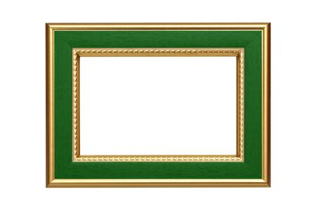 Gold-green frame isolated on white background photo