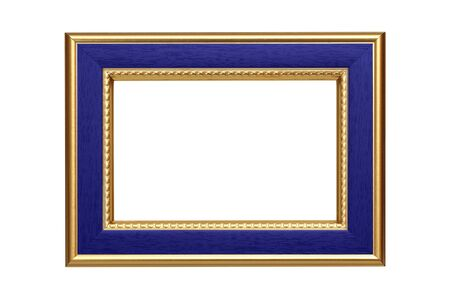 Gold-blue frame isolated on white background photo