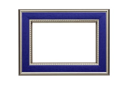 marcos decorados: Marco de plata y azul aislado en fondo blanco
