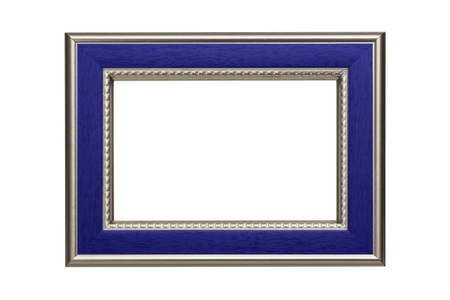 Silver-blue frame isolated on white background photo