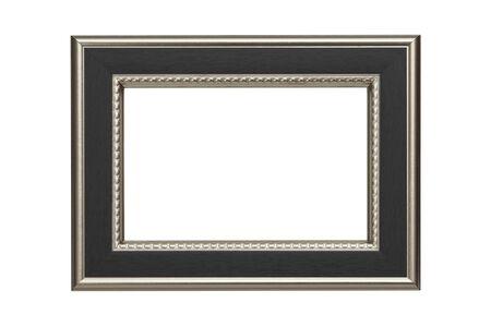 marcos decorados: Marco de plata-negro aislado en fondo blanco Foto de archivo