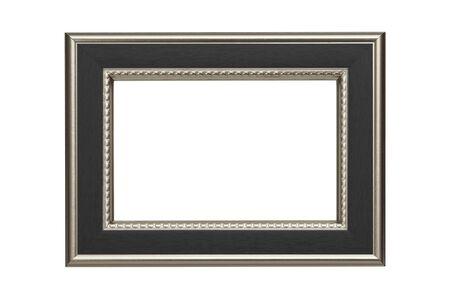 antique frame: Silver-black frame isolated on white background Stock Photo