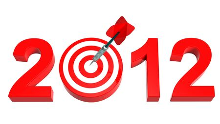 Dart hitting target - New Year 2011 isolated on white. Computer generated 3D photo rendering photo