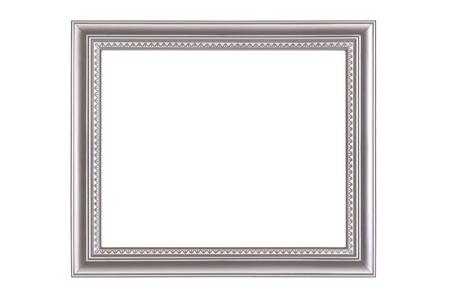 marcos decorados: Marco plata aislado en fondo blanco  Foto de archivo