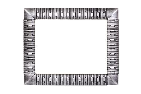 Silver metal frame isolated on white background  photo