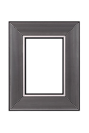 Silver-black picture frame isolated on white background  photo