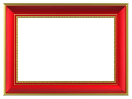 red gold: Gold-red rectangular frame isolated on white background. Computer generated 3D photo rendering.