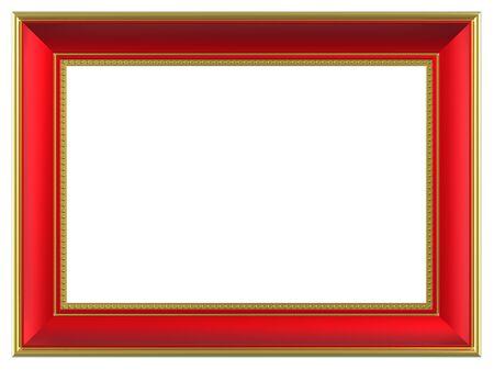 marcos decorados: Marco rectangular de oro rojo aislada sobre fondo blanco. Procesamiento de fotos 3D generados por ordenador.  Foto de archivo