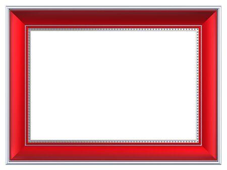 marcos decorados: Marco rectangular de plata-rojo aislada sobre fondo blanco. Procesamiento de fotos 3D generados por ordenador.