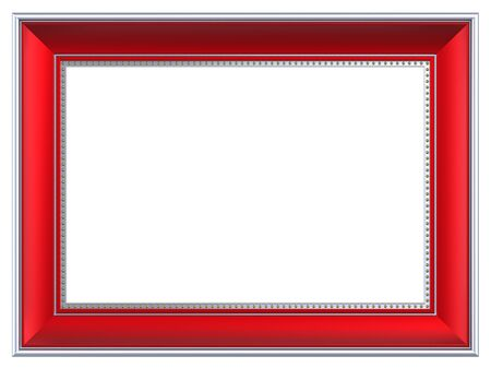 silver frame: Silver-red rectangular frame isolated on white background. Computer generated 3D photo rendering.