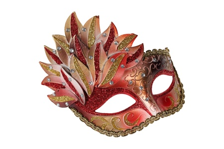 Red-gold Venetian mask isolated on white Stock Photo