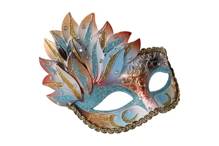 Blue-gold Venetian mask isolated on white Stock Photo